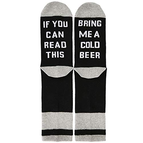 If You Can Read This Bring Me Beer Funny Unisex Funky Colorful and Comfy Knit Novelty Socks for Men