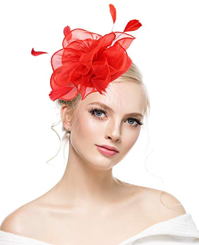 (kaste Fascinators Hat for Women Kentucky Derby Cocktail Tea Party Vintage Flower Mesh Feathers Red Hat for Party, Large)