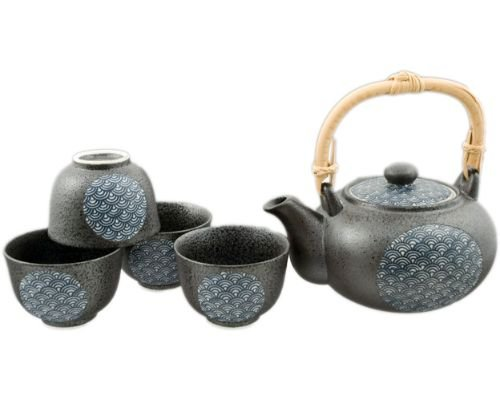 Authentic Imported Japanese Pottery Seigaiha Waves Design Tea Set with Built In Strainer and 4 Tea Cups Gift Set Made In Japan