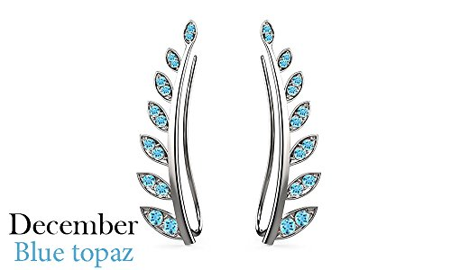 Simulated Blue Topaz Ear Crawler Cuff Earrings 14k White Gold Over Sterling Silver Climber Studs Olive (Silver Blue Topaz Cuff)