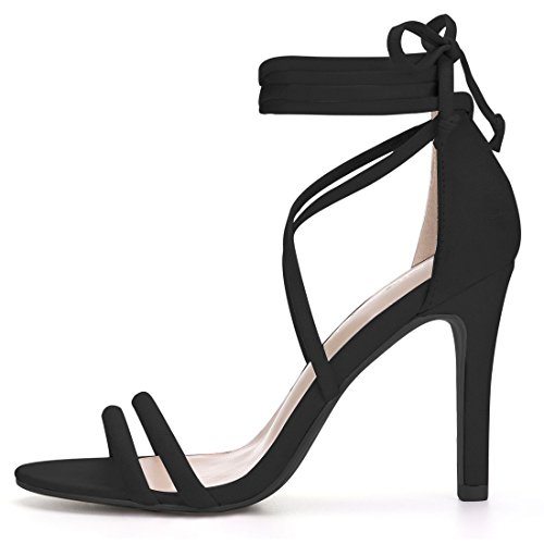 Allegra K Women's Stiletto Lace up Dress Sandals Black Yprndq