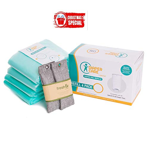 4 Pack Refill - Fits Dekor Plus Diaper Pails - Disposable Liners Hold Up to 2372 Diapers + Bonus Bamboo Charcoal Odor Smell Eliminator Bags + Free Potty Training Secrets Ebook (Dekor Pail Diaper)