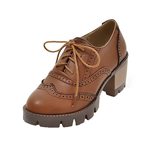 Pompe A shoes up Darkbrown Donne Delle In Round Amoonyfashion Scacchi toe Pu Pizzo Alti Tacchi rqrvaO7nwA