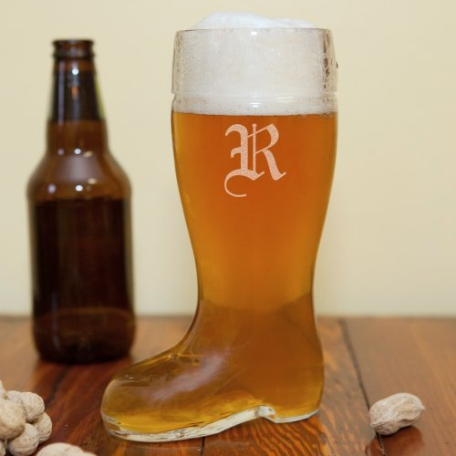 Engraved Glass Boot, Holds 0.5 Liters, 7.5