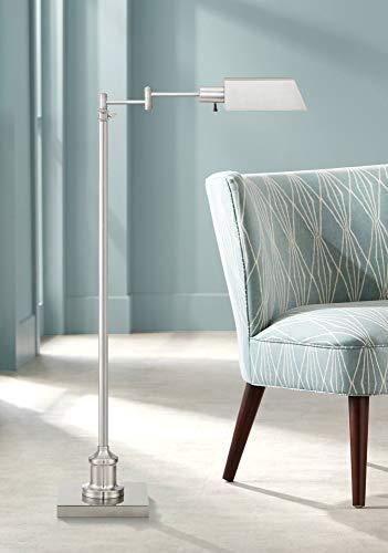 Jenson Modern Pharmacy Floor Lamp Adjustable Swing Arm Brushed Nickel Metal for Living Room Reading Bedroom Office - Regency ()