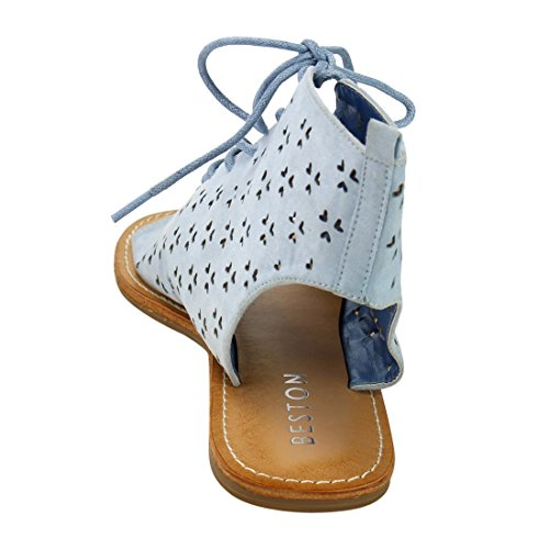 Womens DE40 Blue Laser out Flat Sandals Perforated Ankle Up Front Lace BESTON H5wdq5