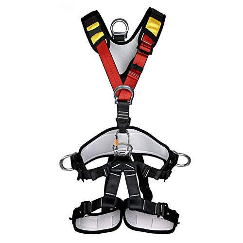 kissloves Full Body Safety Harness Outdoor Climbing Harness Half Body Harness Safe Seat Belt for Mountaineering Outward Band Expanding Training Rock Climbing Rappelling Equip (Full-Body Red)