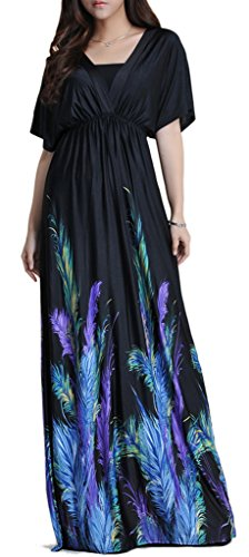 Wantdo-Womens-Boho-Bohemian-V-Neck-Beach-Maxi-Dress-Plus-Size