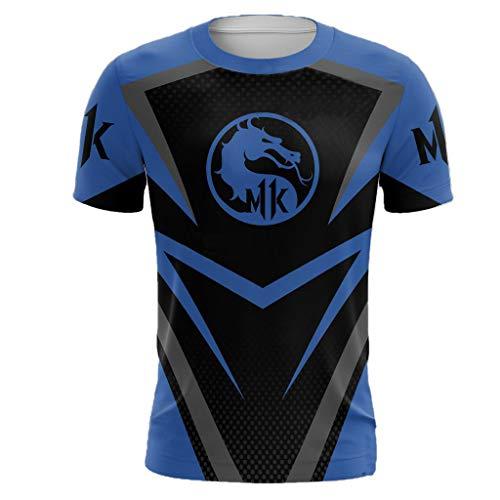 Unisex Womens Mens T Shirt Game Cosplay Casual Shirt Short Sleeve 3D Shirt 2XL Blue -
