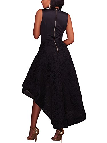 Black Lace Party Neck Low High Allonly Women Dress Prom Cocktail s V Floral Sleeveless Sexy Deep 8q8fZxUwBR