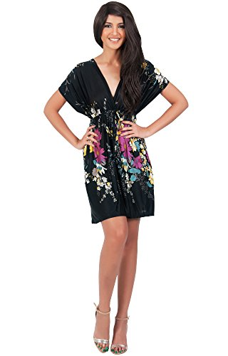 KOH KOH Plus Size Womens Floral Print Summer Kimono Sleeve V-Neck Sexy Beach Mini Dress Vintage Flower Casual Day Out Comfortable Dresses, Color Black, Size 2X Large XXL 18-20