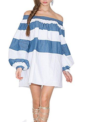[Cinyifan Womens Fashion Off Shoulder Long Shirt Tops Tunic Blue And White Dress] (Geeky School Girl Fancy Dress)