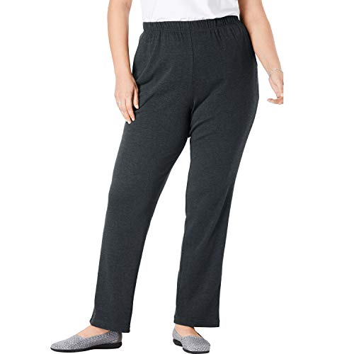 Woman Within Women's Plus Size Petite 7-Day Knit Straight Leg Pant - Heather Charcoal, 1X