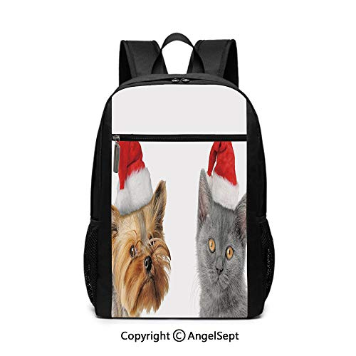 - Fashion School Backpack,Adorable Cat and Dog with Xmas Hats Domestic Pet Animals Holiday Celebration Decorative,Orange Grey Red,6.5