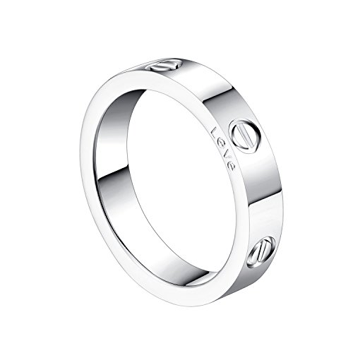 Z.RACLE 4mm Love Rings for women with Screw Design Best Gifts for love Sliver - 8 by Z.RACLE