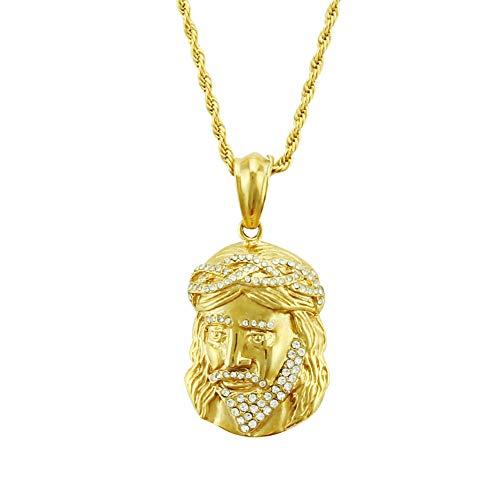 MSTOT Hiphop Hip Hop Cabeza Humana Colgante Collar 14K Oro Preservacion Color Galvanoplastia Street Dance Joyeria Colgante