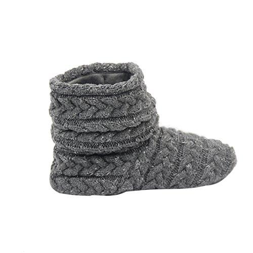 Gohom Womens Faux Fur Black Fringes Indoor Slipper Boots Darkgray HeCxRTd
