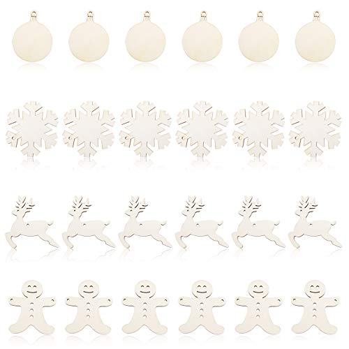 Christmas Wooden Ornaments Set - 24 Pcs Unfinished Wood Slices Christmas Hanging Tree Blank Decorations DIY Gift Tag Crafts Including Snowflake Reindeer Gingerbread Man and Round Wooden Discs]()