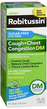 Robitussin Adult Cough + Chest Congestion DM Liquid Sugar-Free - 4 oz, Pack of 2