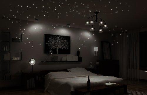 Wandtattoo 50er 100er 256er Leuchtsterne Sternenhimmel leuchtend  fluoreszierend Mond, Stern Kinderzimmer Schlafzimmer (L-set 256er)