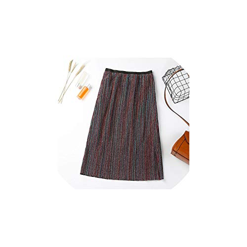 Vintage Sequin High Waist Accordion Pleat Skirts Women Outfits,Stripe 3,M ()