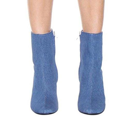 LINYI Botas Cortas Mujeres De Tacón Alto Botines Blue Jeans Slip Casual Diario En Blue