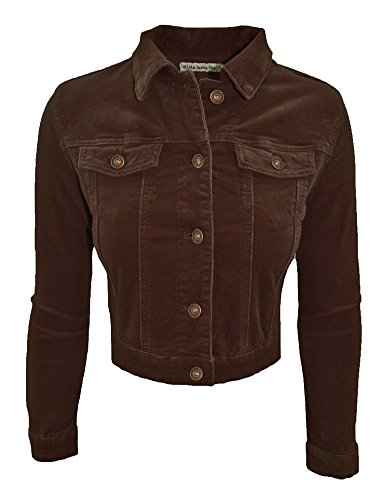 Cielo Women's Cropped Corduroy Jacket (large, Brown) (Cropped Jacket Brown)