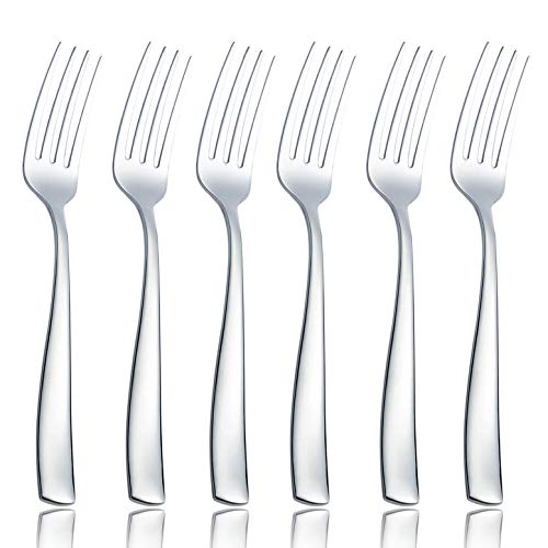 (OMGard Dinner Fork Sets 6 Piece Flatware Bulk 18/8 Stainless Steel 8-inch Salad Dessert Forks Only Weight Eating Utensils Table Silverware Cutlery Service for 6 Dishwasher Safe Mirror Finished 6/Case)
