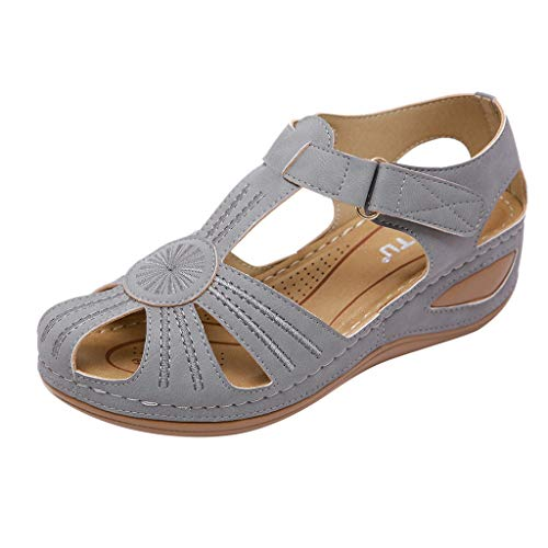 Women's Shoes,Retro Ladies Girls Comfortable Ankle Hollow Round Toe Sandals Casual Rome Soft Sole Shoes Plus Size (Ladies Tennis Shoes Jordans)