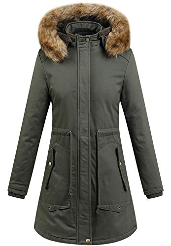 - chouyatou Women's Winter Removable Fur Hooded Zip Thick Fleece Lined Long Parka Coat (Large, Army Green)