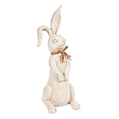Carved Rabbit with Raffia Tie - Easter & Home Decor