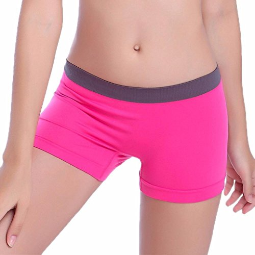 JUNKE Nylon Spandex Sheer Mini Bike Seamless Pantie Knickers Underwear Yoga Boyshort Boxer Brief (Hot Pink) (Boxers Sheer Spandex)
