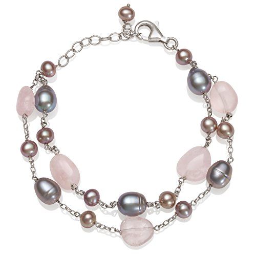 (Sterling Silver Pink Cultured Freshwater Pearl and Rose Quartz Chain Bracelet, 7.5