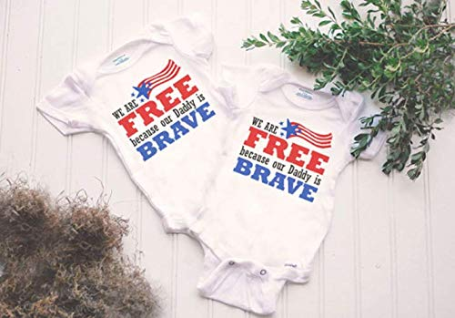 Military Twins Onesie® - military homecoming, military deployment, made in america, soldier baby bodysuit, land of the free outfit, freedom