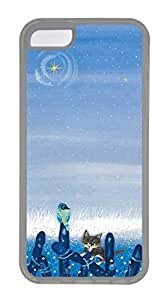 iPhone 5C Case, Cat Painting Blue Personalized Slim Protective Hot Sale Soft Rubber TPU Clear Edge Case Cover for Apple iPhone 5C