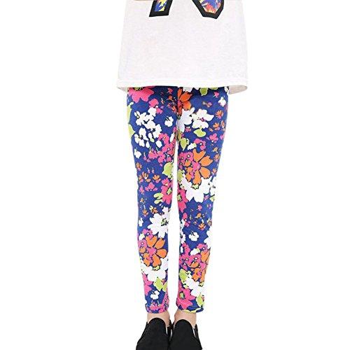 Weixinbuy 2-14 Years Girls Flower Feather Printed Comfy Leggings Pants G 9-10Y - Girls Leggings Size 7