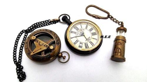 ブロンズMen 's Nautical Pocket Watch日時計コンパス& Light House key-ring by Maxエンジニアリング企業 B07545BLQ4