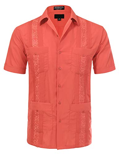 JD Apparel Men's Short Sleeve Cuban Guayabera Shirts15-15.5N M Coral