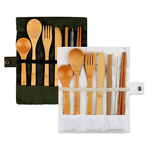 2 sets bamboo camping tableware reusable travel kits (light green + white) environmentally friendly including knives, forks, spoons, chopsticks, straws, brushes, suitable for children and - Bamboo Kit Light