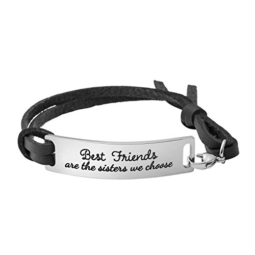 Yiyang Motivational Gift Inspirational Leather Bracelet Adjustable Bangle Jewellery Stainless Steel ((Best Friends are The Sisters we Choose-Black Leather)