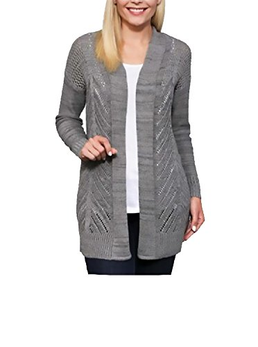 Leo and Nicole Womens Cardigan Long Sleeve Open Front Marled Rib Trim Pointelle Sweater, (Iron Gate Marl, Small) (Cardigan Sweater Marled)