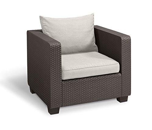 Keter Salta All Weather Outdoor Patio Armchair with Sunbrella Cushions in a Resin Plastic Wicker Pattern, Rich Brown For Sale