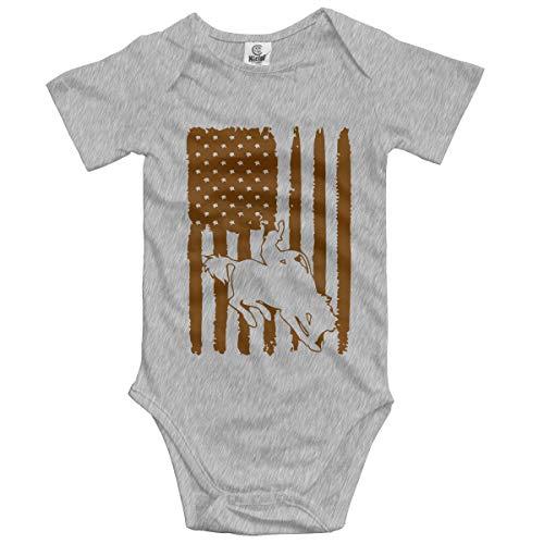 Rodeo Cowboy American Flag Newborn Infant Baby 100% Organic Cotton Layette Bodysuit 0-24M Gray