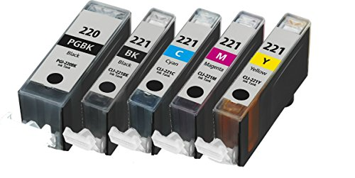 - HouseOfToners Compatible Ink Cartridge Replacements for Canon PGI-220 (1 Black) and CLI-221 (1 Black, 1 Cyan, 1 Magenta, 1 Yellow, 5-Pack)