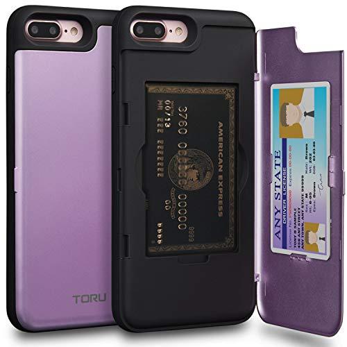 Mirror Hard Case - TORU CX PRO iPhone 8 Plus Wallet Case Purple with Hidden Credit Card Holder ID Slot Hard Cover & Mirror for iPhone 8 Plus/iPhone 7 Plus - Lavender