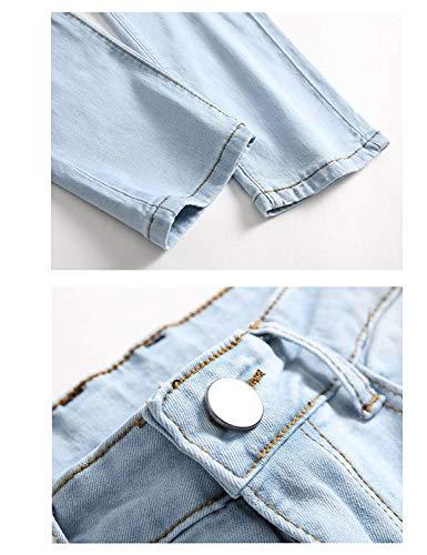 Jeans Moda Ricamo Con Vintage Da Rosa Skinny Uomo Strappati Semplice Hellblau A Buco Stile rx4wArnqpg