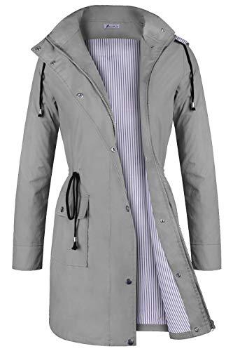 Twinklady Rain Jacket Women Windbreaker Striped Climbing Raincoats Waterproof Lightweight Outdoor Hooded Trench Coats Grey XL (Striped Sweater Lined)