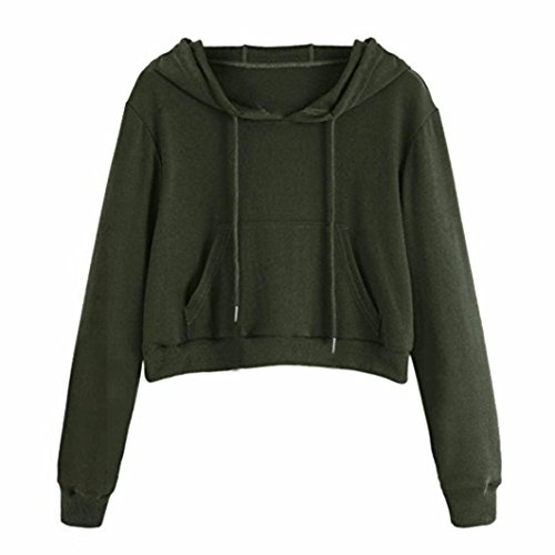 Clearance Womens Sweatshirts - vermers Women O-Neck Pocket Hoodie Jumper Long Sleeve Pullover Tops(S, Green) by vermers
