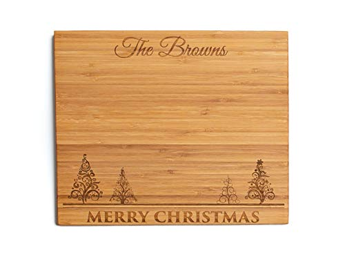 Personalized Christmas Cutting Board, Kitchen Gift for Couples and Family (11 x 13 Single Tone Bamboo Rectangular, Merry Christmas with trees Design)