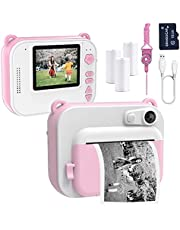 Gemgucar Kids Camera Zero Ink Print Photo Selfie 1080P Video Digital Camera Instant Print Camera with Print Paper 16GB Micro SD Card Portable Toy for 3 4 5 6 7 8 Year Old Kids (Pink)